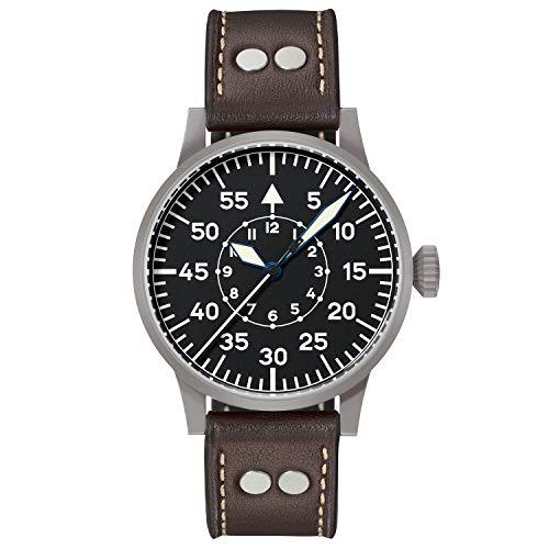 Laco 1925 - Reloj analógico Manual para Hombre con Correa de Piel, Color marrón