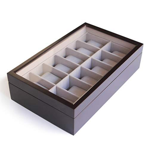 Caja Organizadora de Relojes de Madera Maciza Color Café Oscuro con Tope de Vidrio Exhibidor Hecho por CASE ELEGANCE - 12 Compartimientos