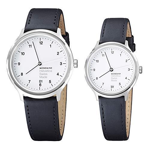 Mondaine Parejas de Relojes para Él y Ella Relojes Suizo Analógico de Cuarzo, MH1.R2210.Set.1, 33 MM y 40 MM