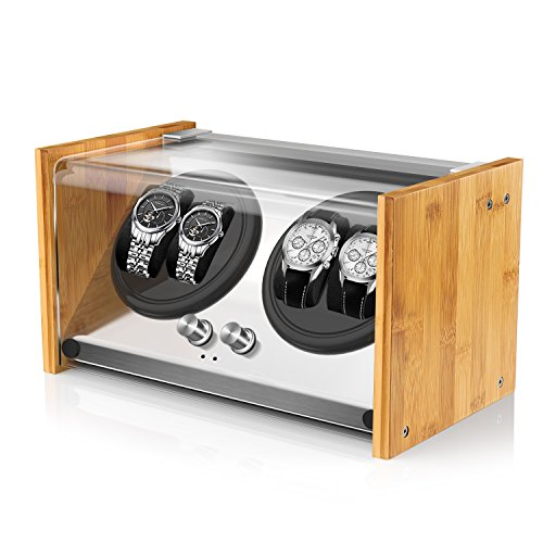 Watch Winder Smith® Caja para Relojes 4 Relojes Pareja tamaño,artesanía Patente 100% de Madera de bambú Cajas giratorias para Relojes,AC o Motor japonés súper Tranquilo con batería