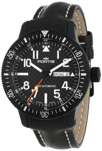 Fortis Reloj de Cuero automático para Hombre 647.28.71 L.01 B-42 Marinemaster Negro con Fecha