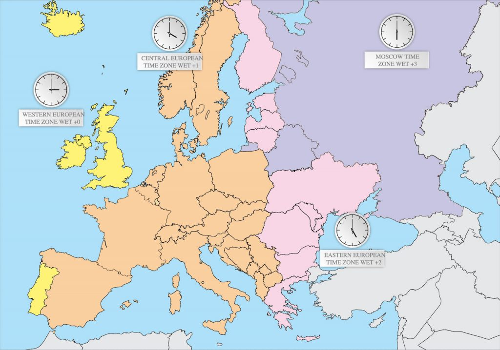 Mapa zonas horarias Europa