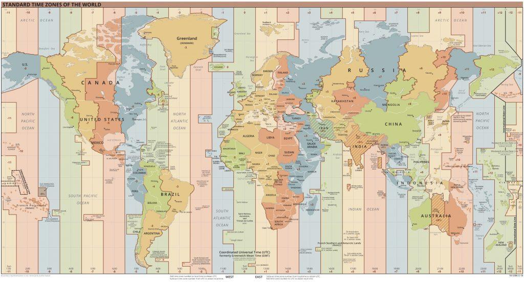 mapa de husos  y zonas horarios del mundo