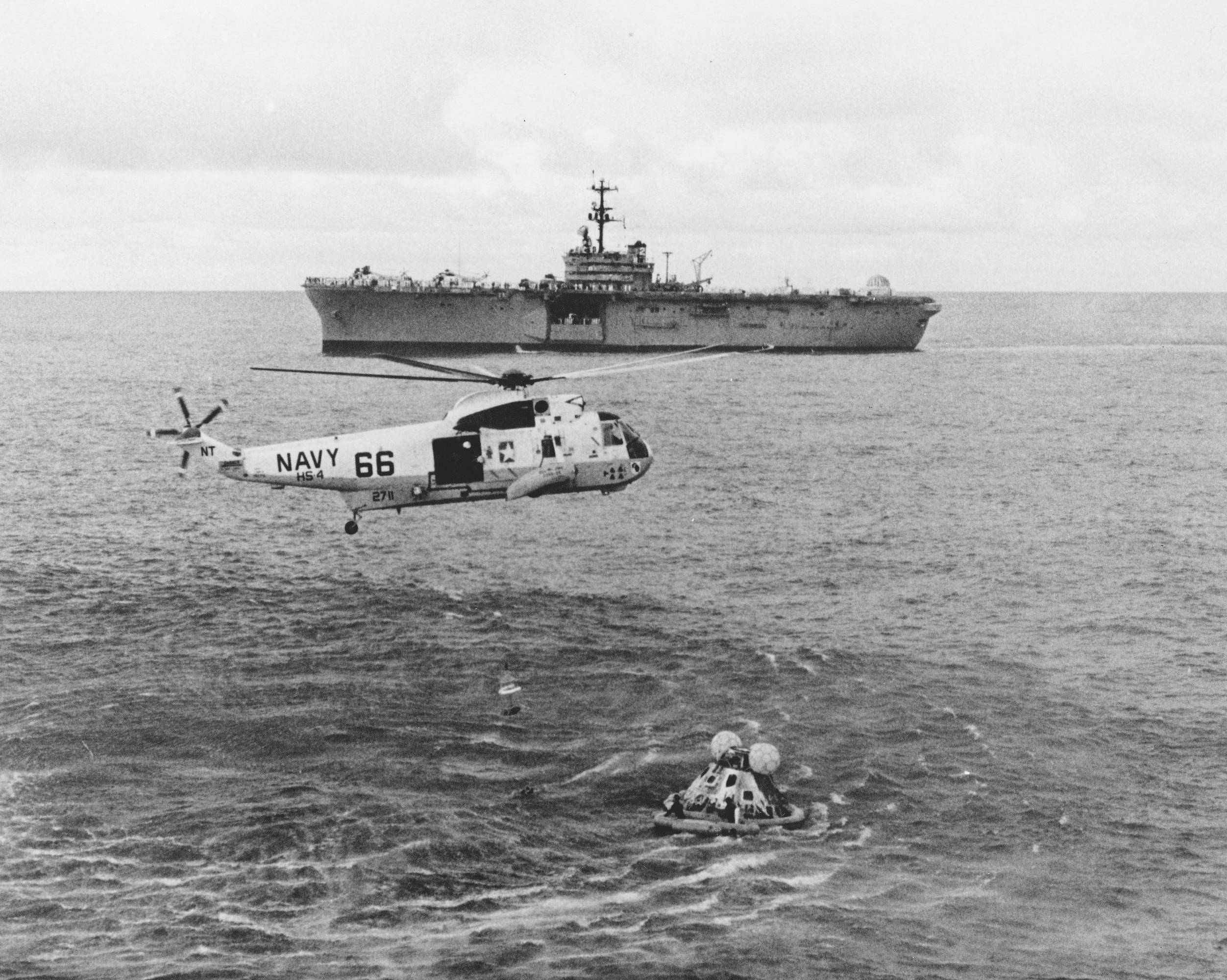 Apollo 13 crew recovery after splashdown