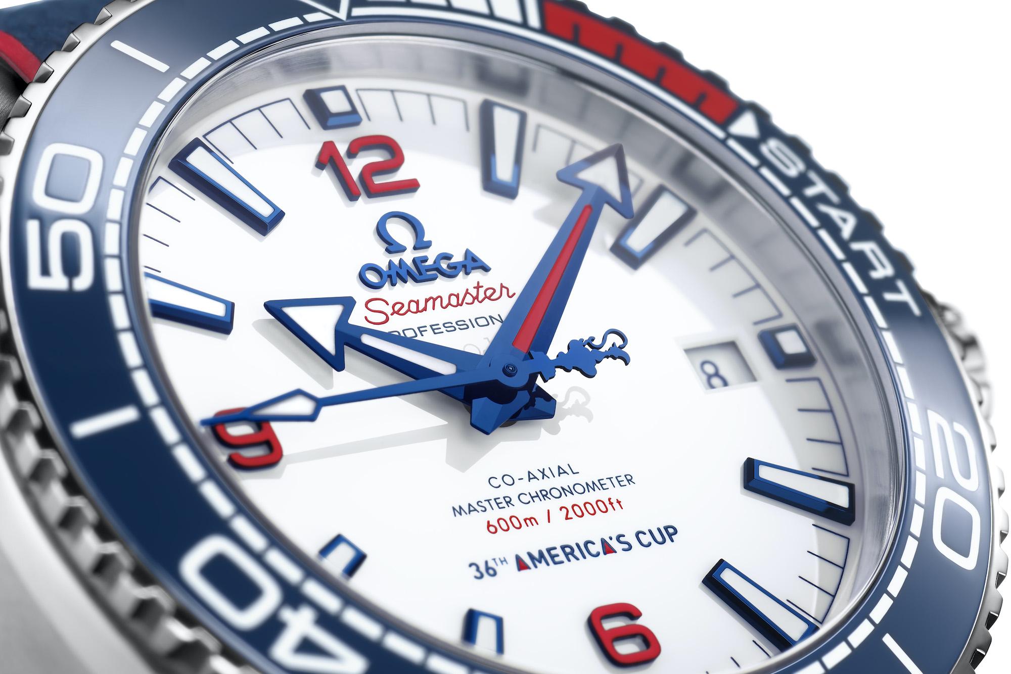 Omega Seamaster Planet Ocean 36th Americas Cup Edicion Limitada 215.32.43.21.04.001 detalle esfera
