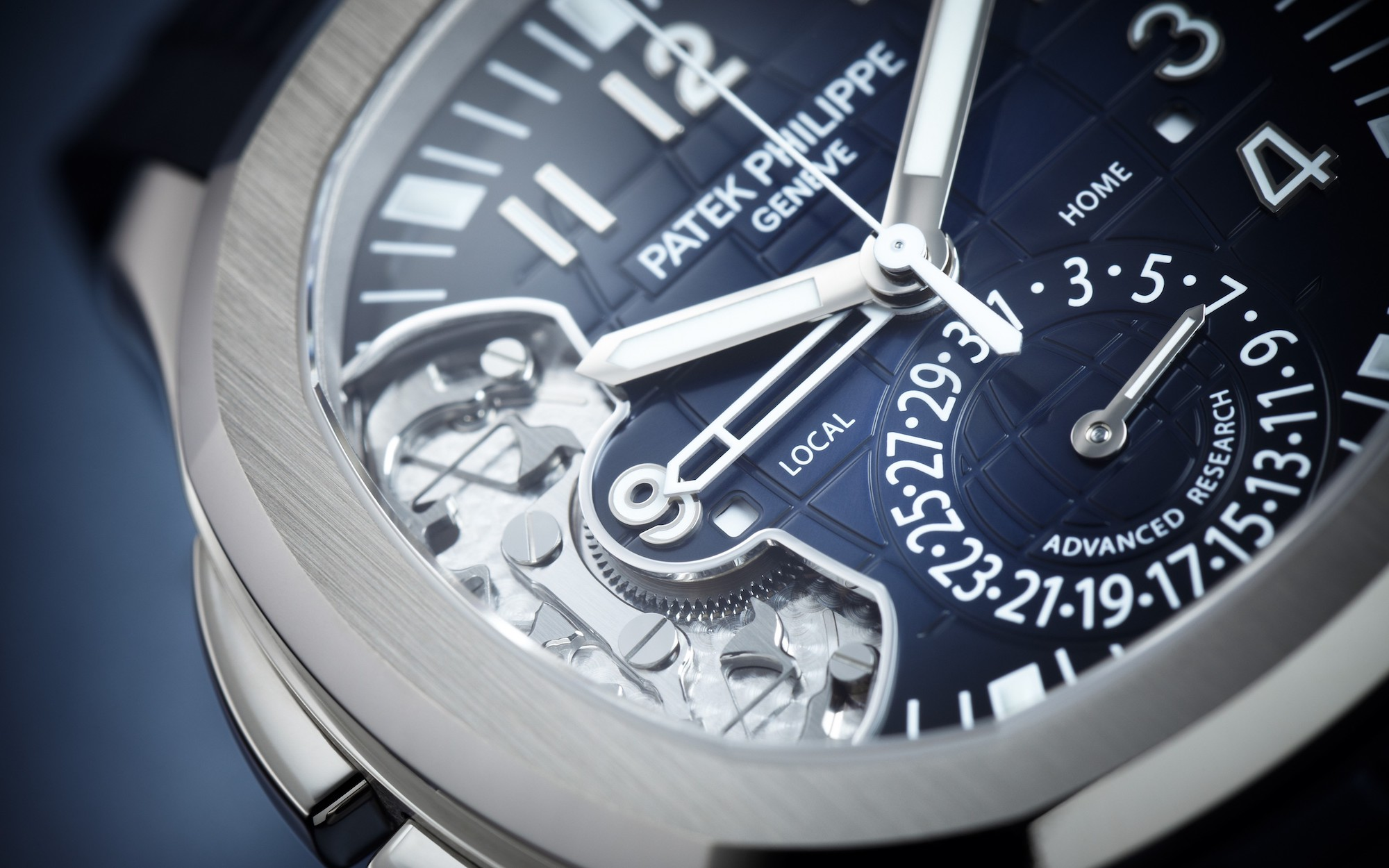 Patek Philippe Aquanaut Travel Time 5650G detalle esfera