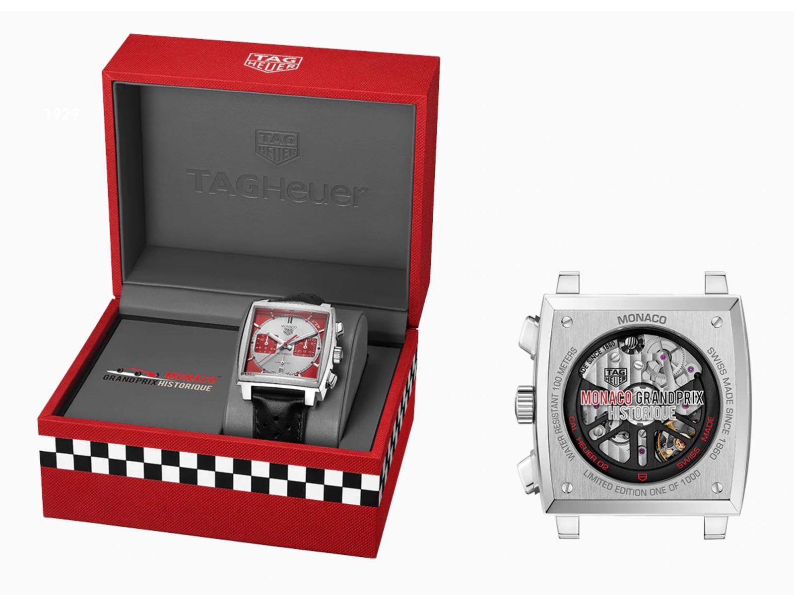 TAG Heuer Monaco Calibre 02 Grand Prix de Monaco Historique Edition caja y trasera