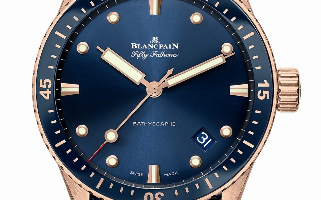Blancpain Fifty Fathoms Bathyscaphe azul de oro Sedna®