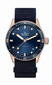 Blancpain Fifty Fathoms Bathyscaphe azul de oro Sedna 5000-36S40-NAOA frontal