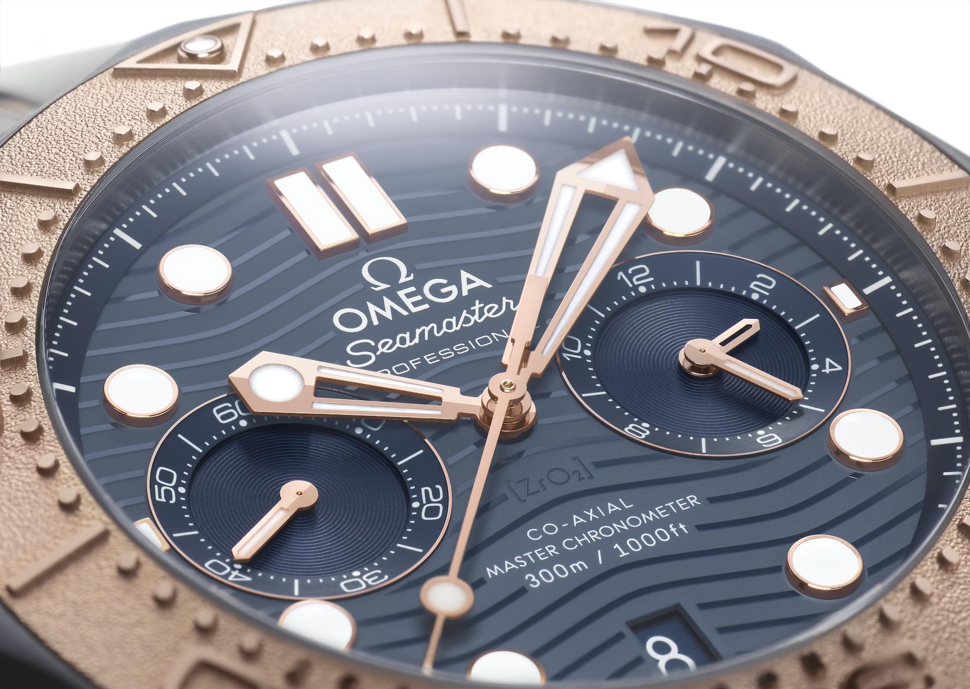 Omega Seamaster Diver 300M Chronograph oro titanio tantalio 210.60.44.51.03.001 detalle esfera