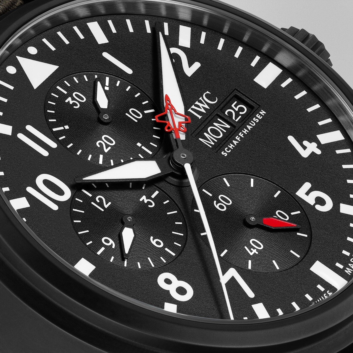 Iwc Pilot Watch Chronograph Top Gun Edition SFTI IW389104 detalle esfera