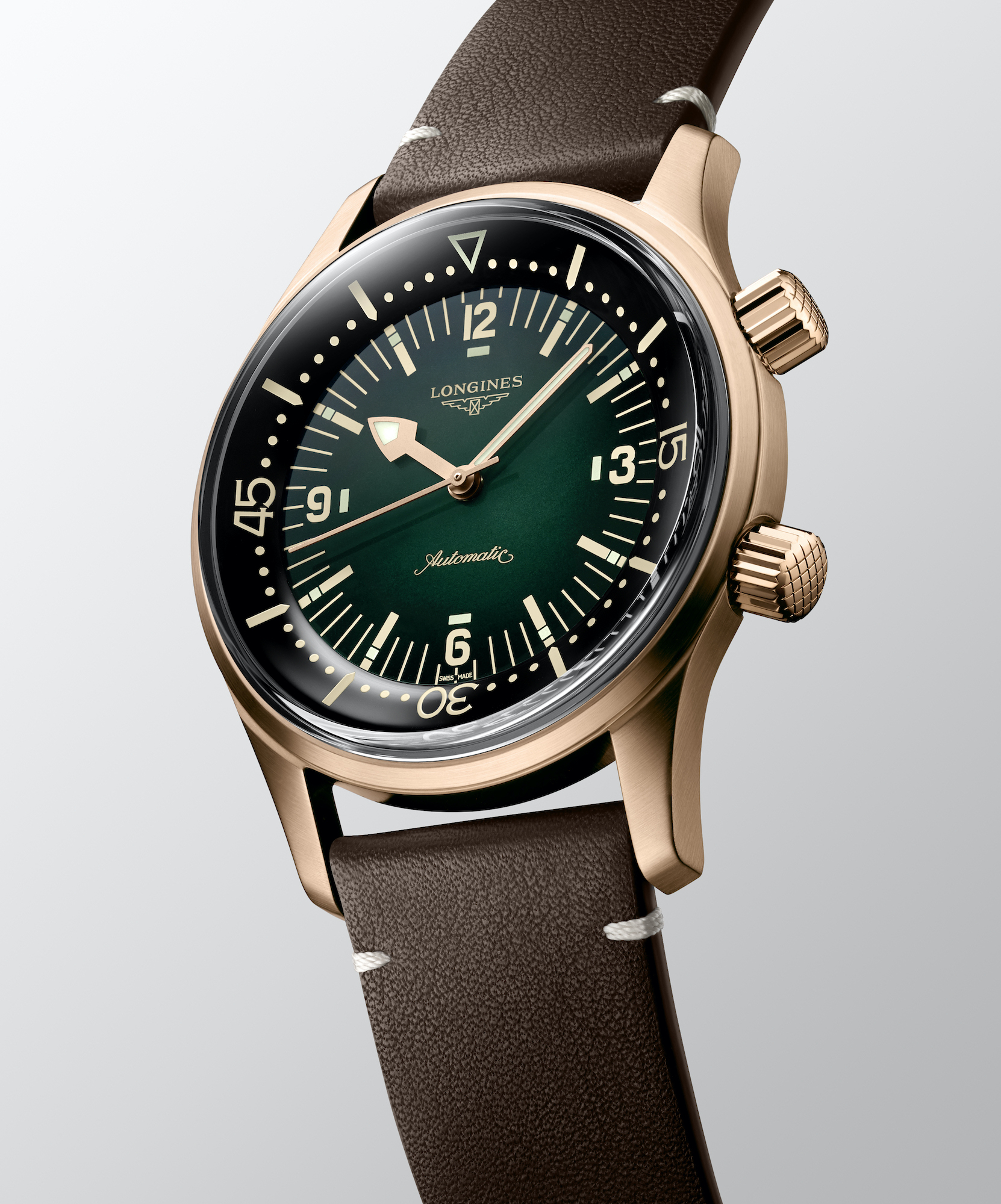 The Longines Legend Diver Watch Bronze L3.774.1.50.2 cuero