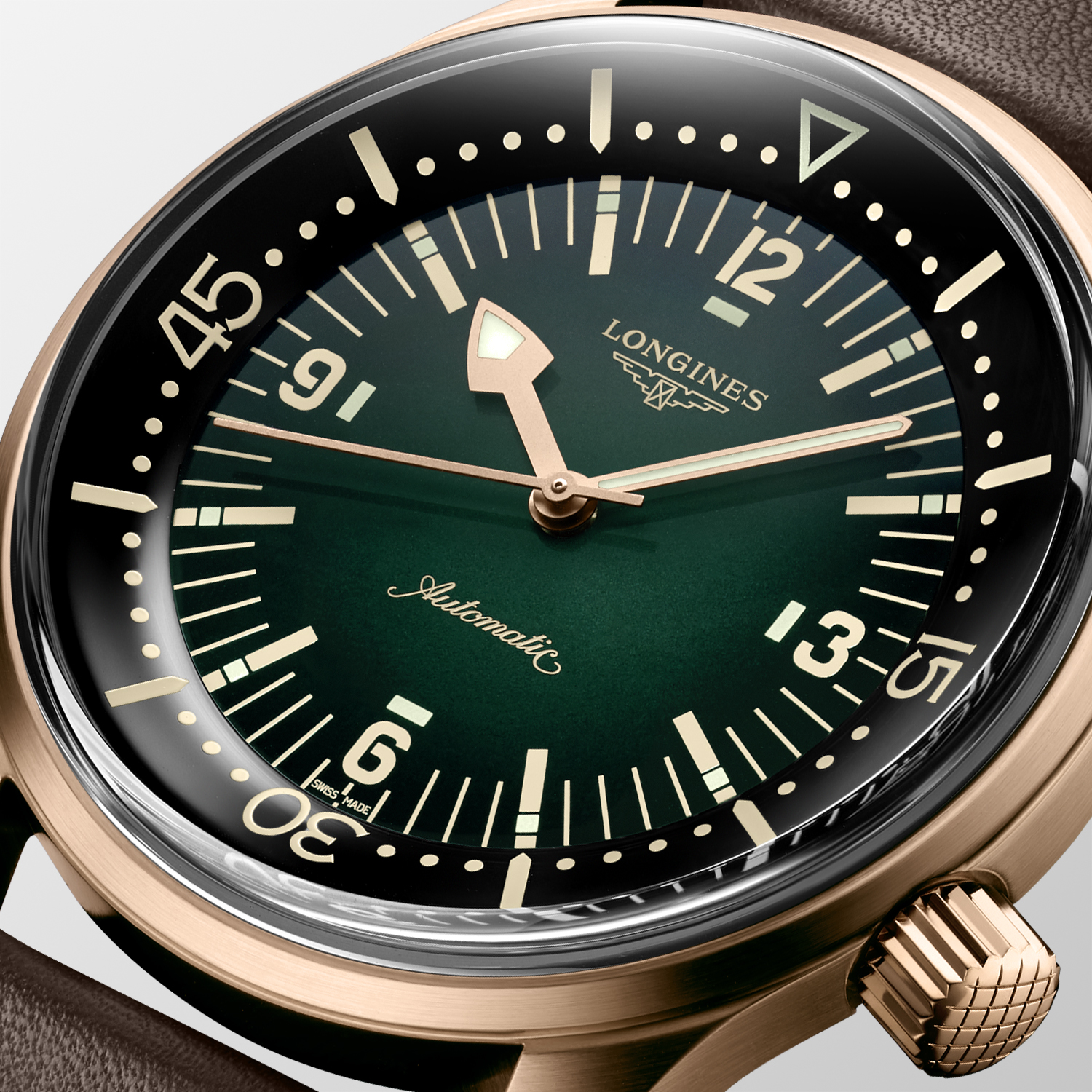 The Longines Legend Diver Watch Bronze L3.774.1.50.2 detalle esfera