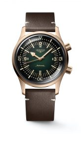 The Longines Legend Diver Watch Bronze L3.774.1.50.2 frontal cuero