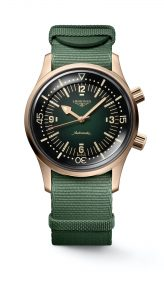 The Longines Legend Diver Watch Bronze L3.774.1.50.2 frontal nato
