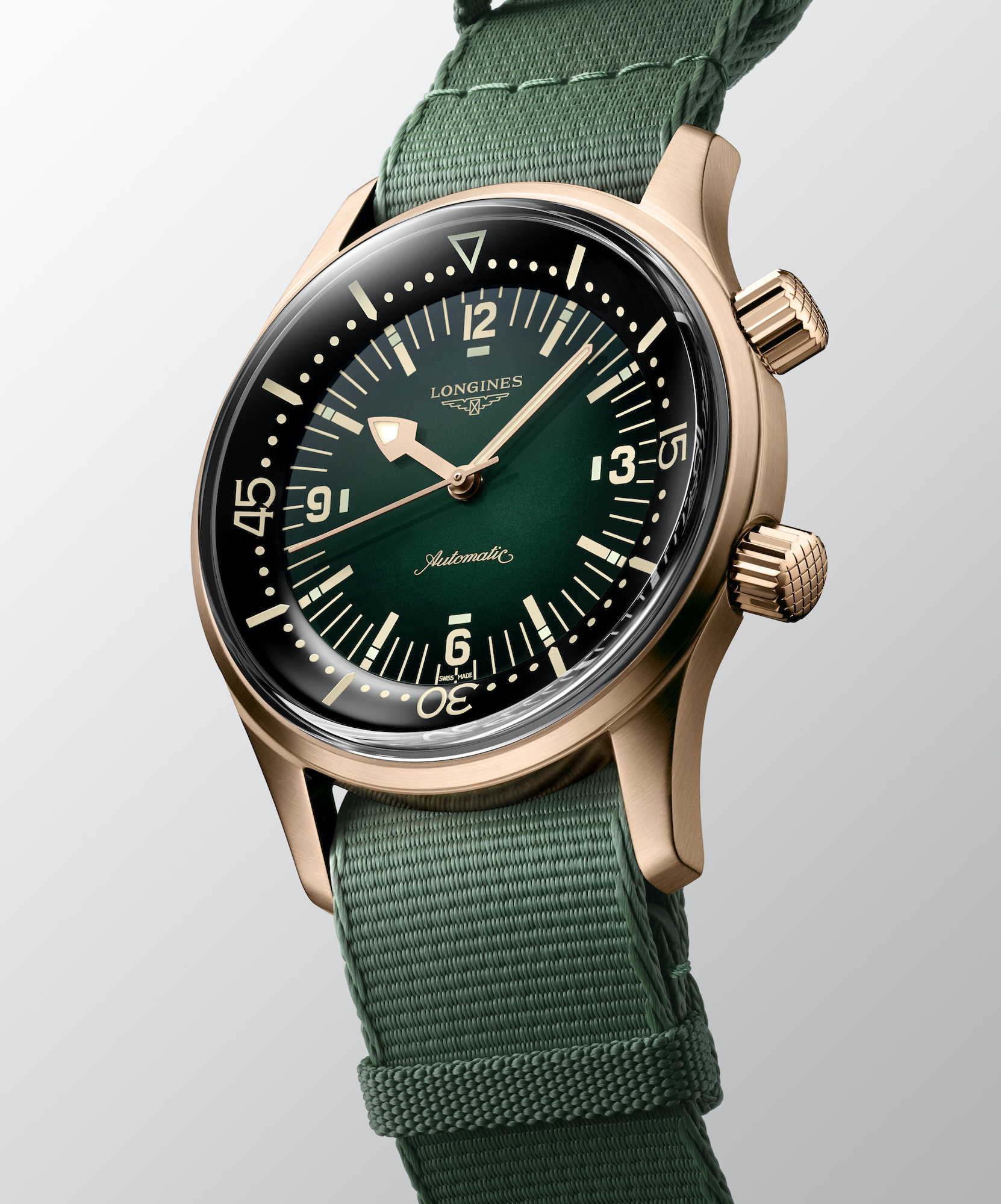 The Longines Legend Diver Watch Bronze L3.774.1.50.2 nato