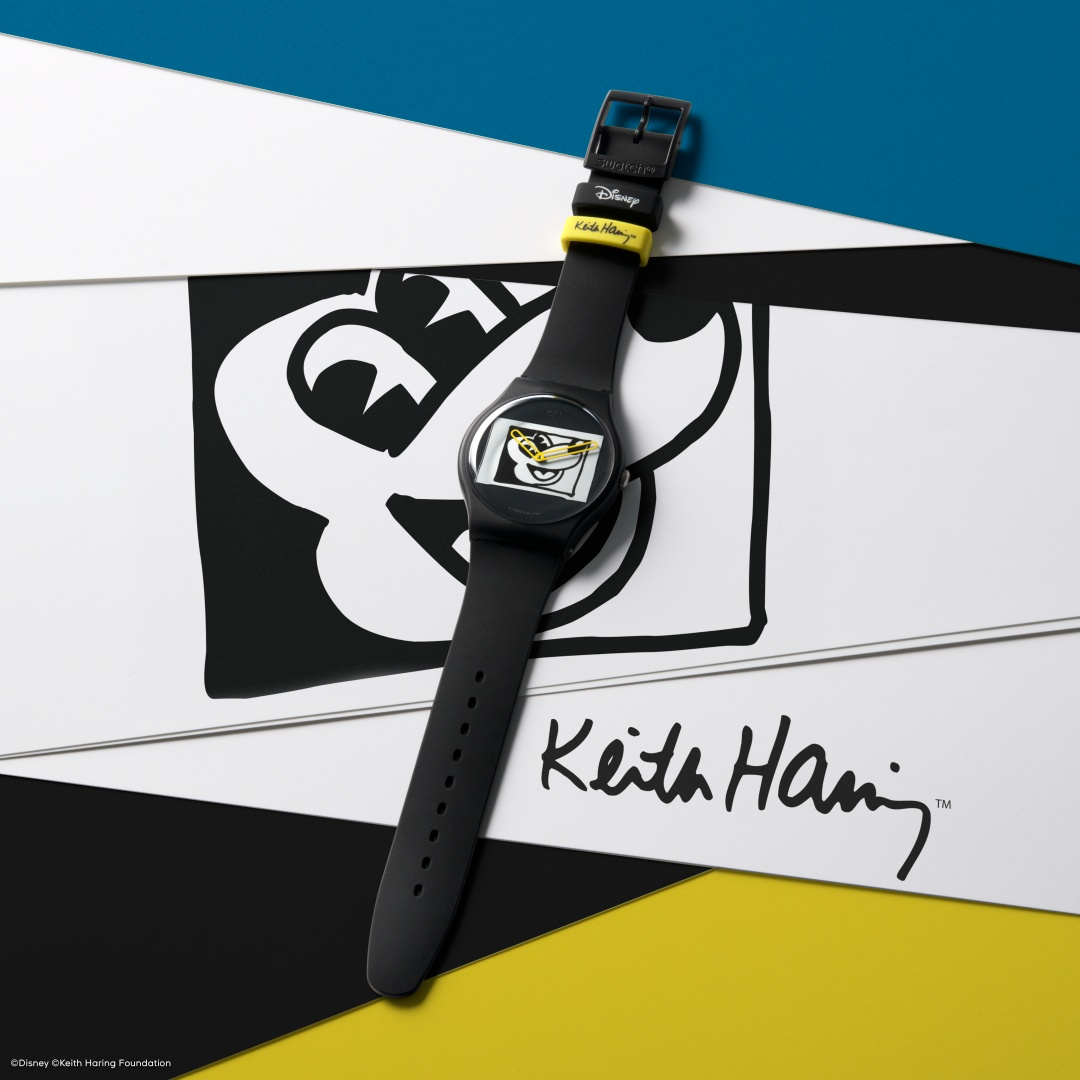 Swatch Disney Mickey Mouse X Keith Haring Mickey Blanc Sur Noir