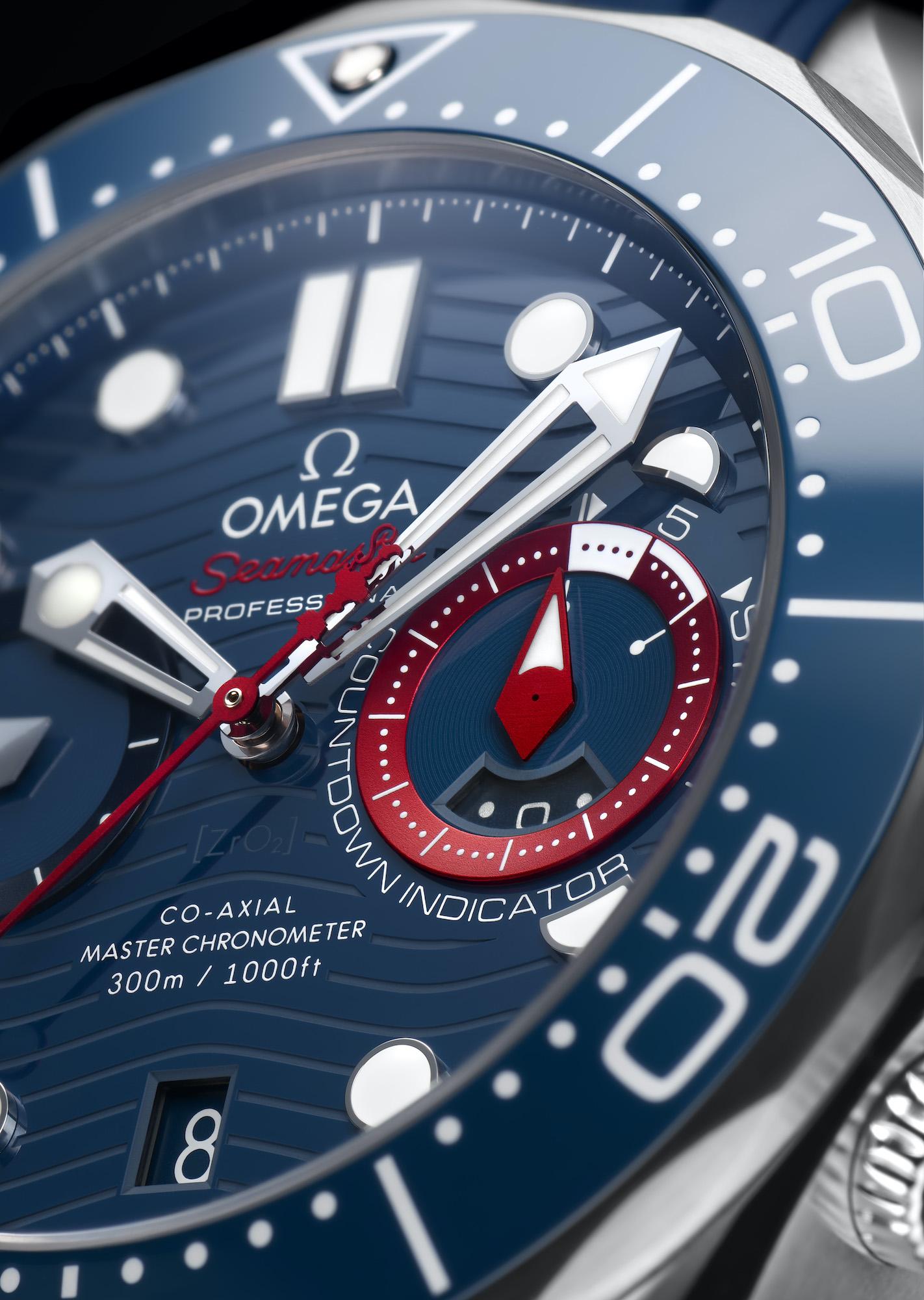 Omega Seamaster Diver 300M Americas Cup Chronograph 210.30.44.51.03.002 Detalle esfera