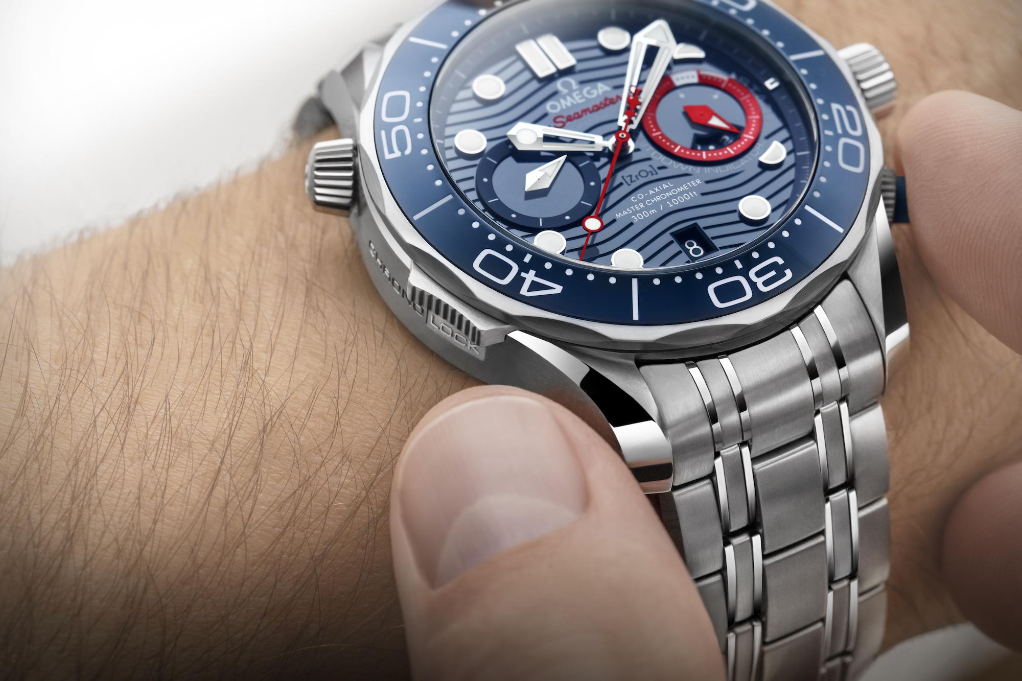 Omega Seamaster Diver 300M Americas Cup Chronograph 210.30.44.51.03.002 bloqueo cronógrafo