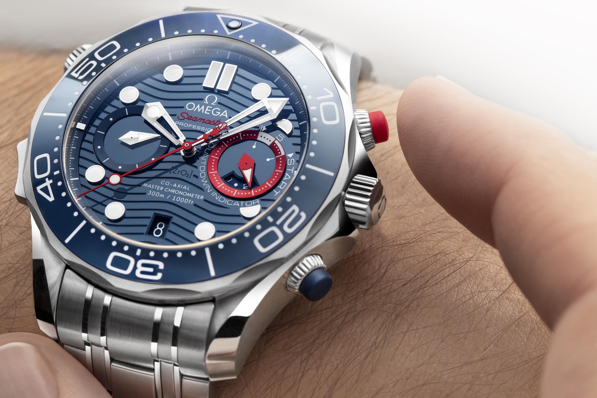 Omega Seamaster Diver 300M Americas Cup Chronograph 210.30.44.51.03.002 pulsadores cronógrafo