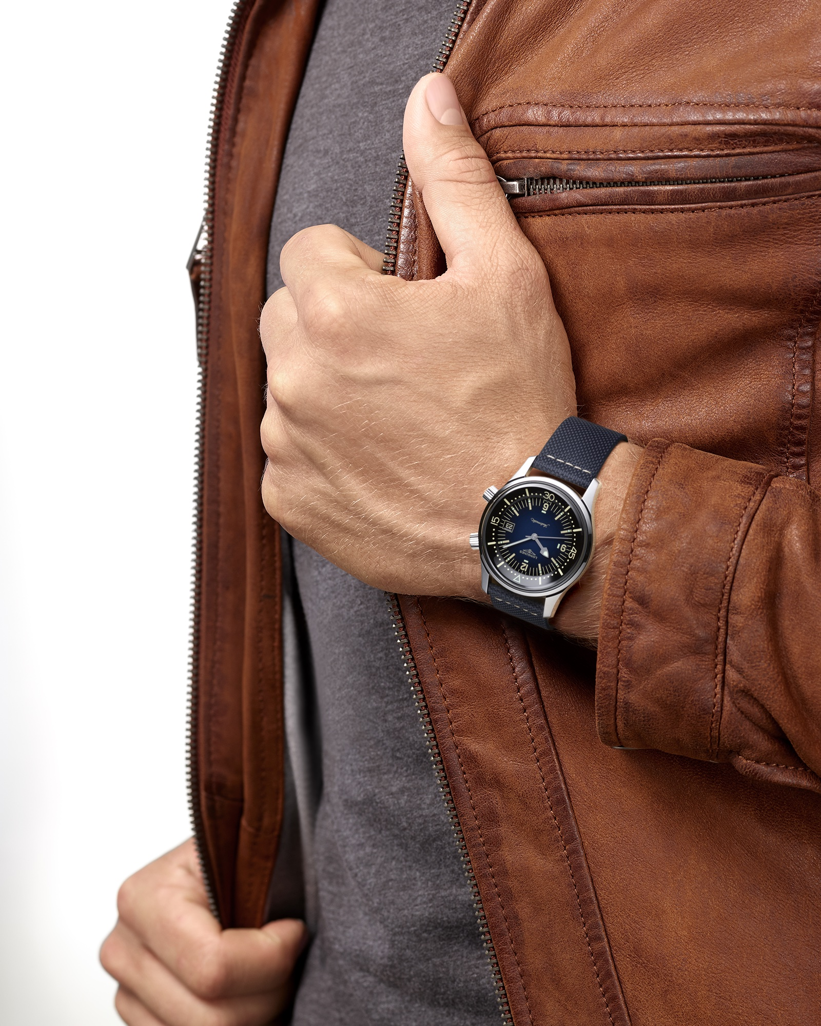 The Longines Legend Diver Watch Azul L3.774.4.90.2 Lifestyle Wristshot