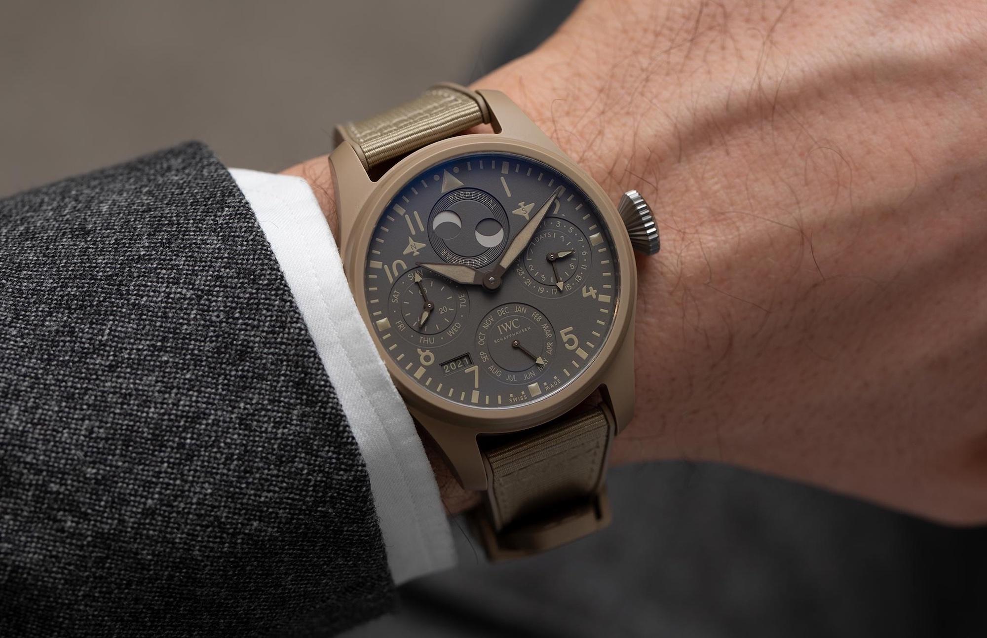 IWC Big Pilot Watch Perpetual Calendar Top Gun Edition Mojave Desert IW503004 Lifestyle wristshot