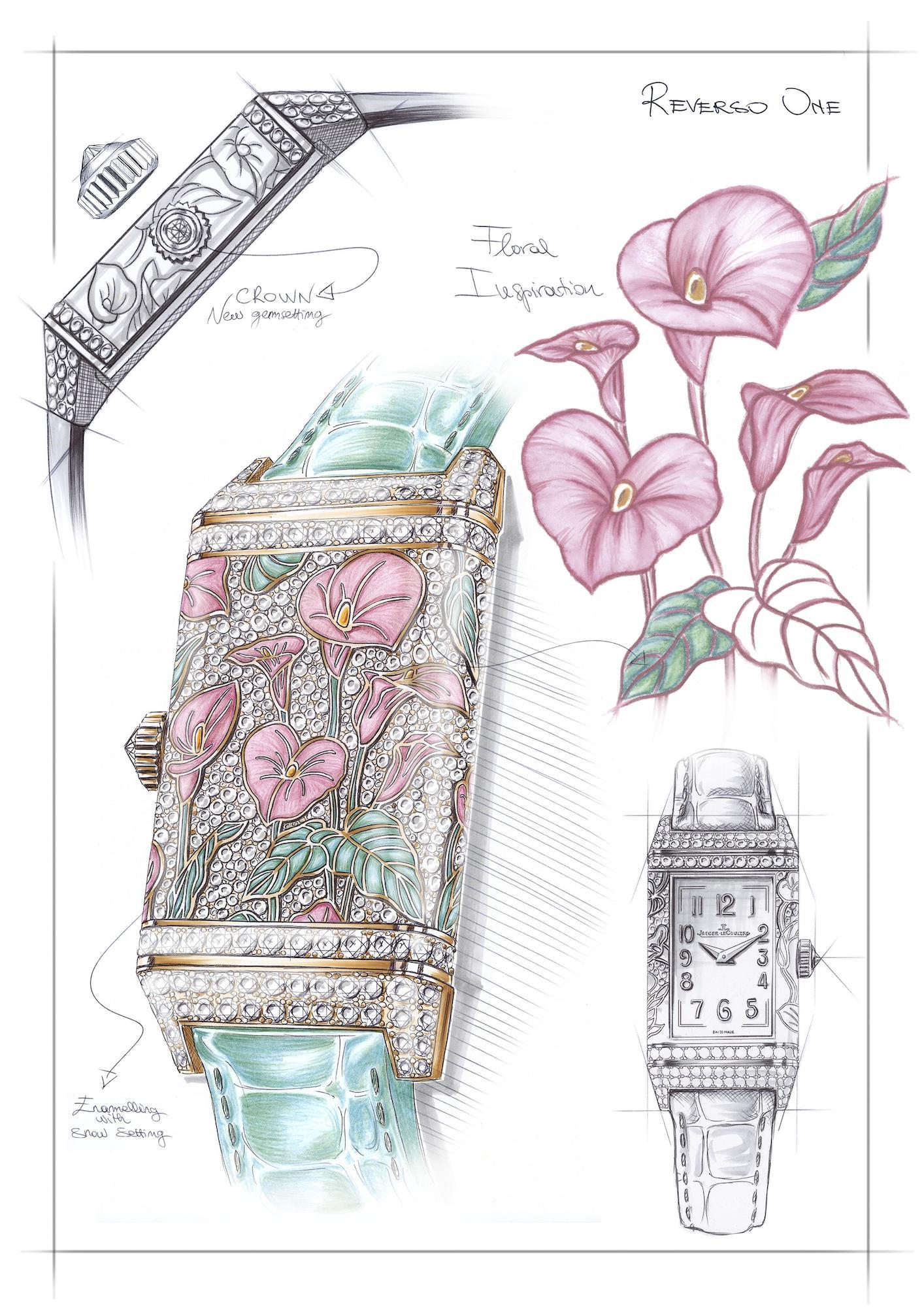 Jaeger-LeCoultre Reverso One Precious Flowers q3292401 Sketch