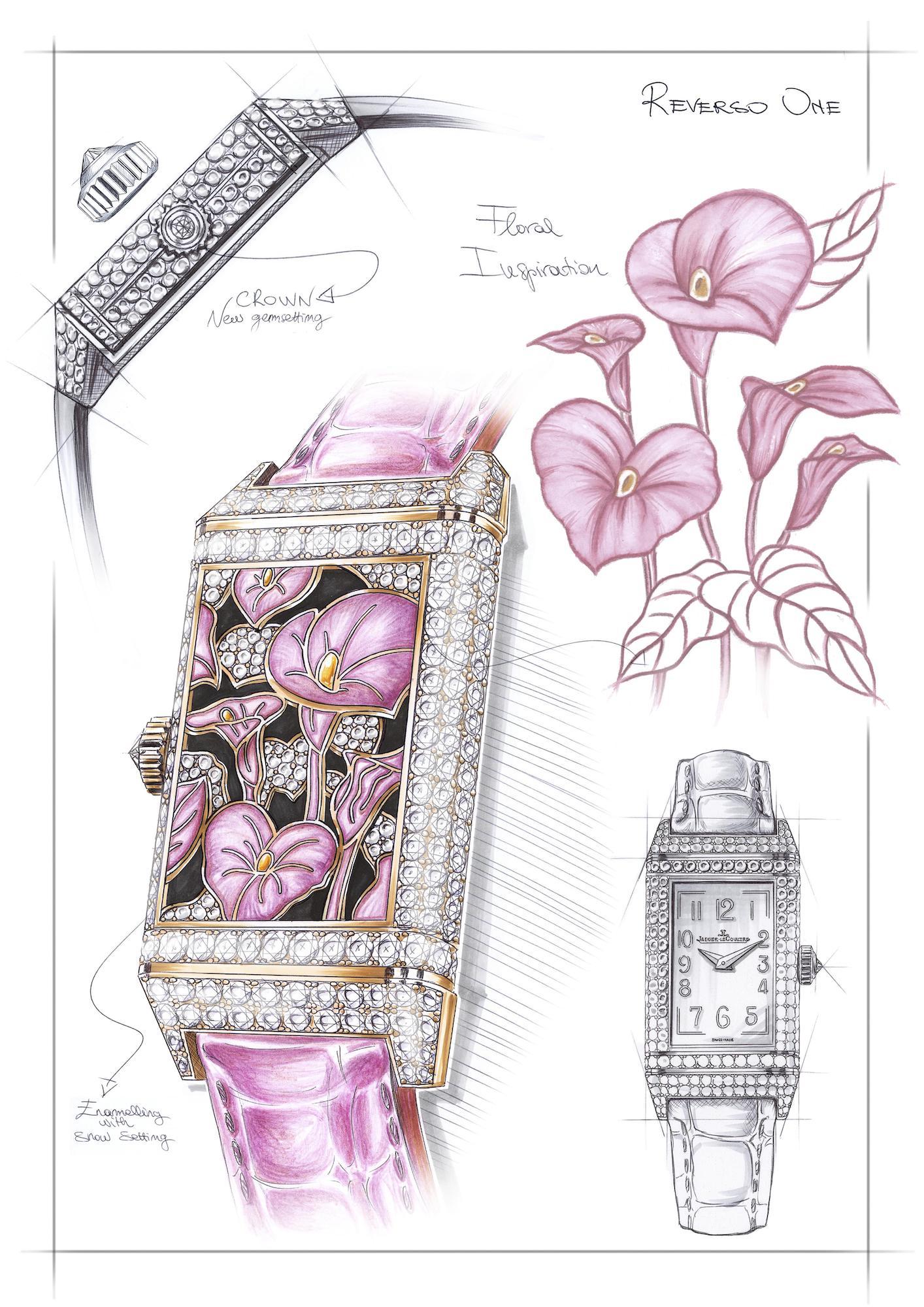 Jaeger-LeCoultre Reverso One Precious Flowers q3292430 Sketch