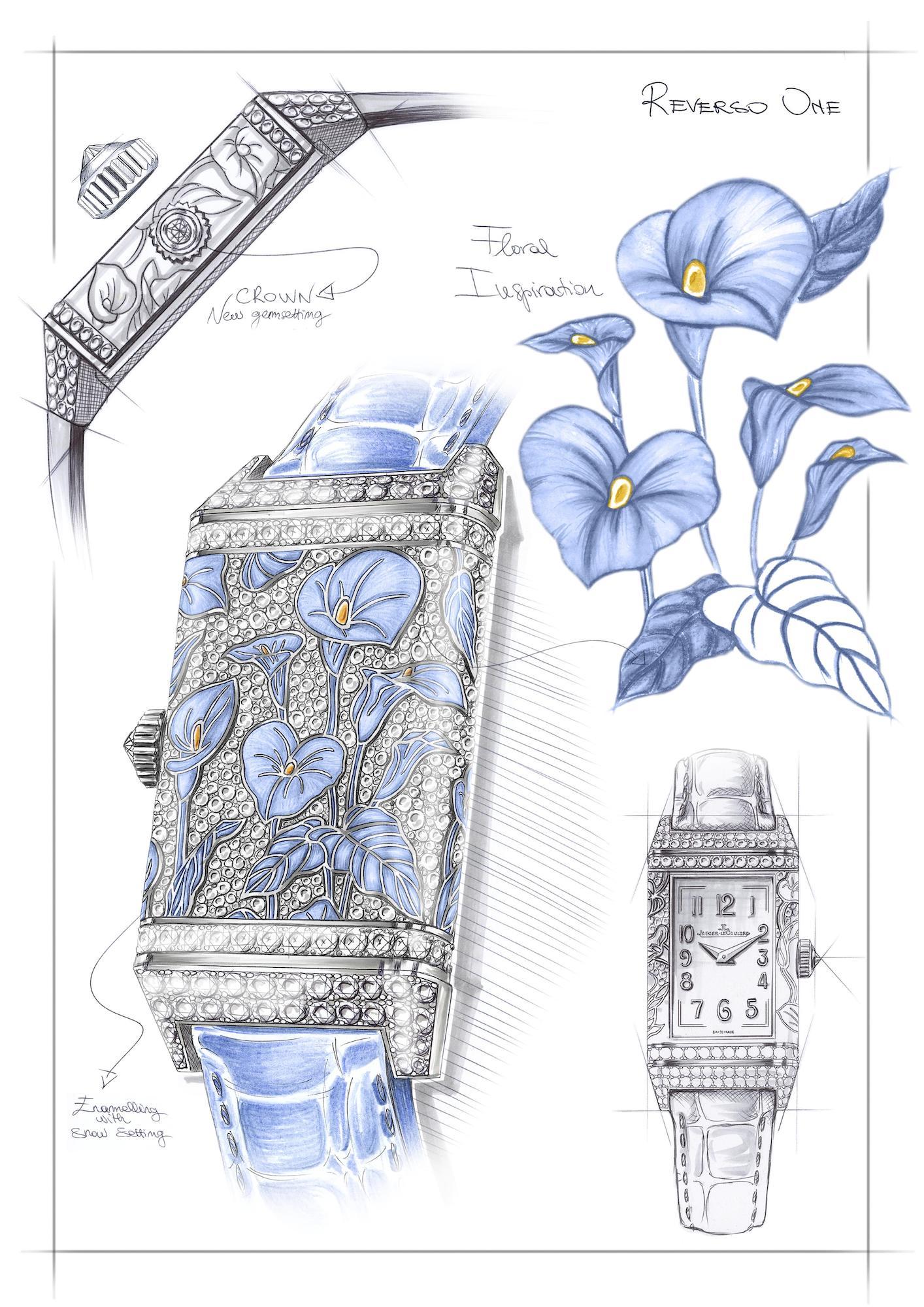 Jaeger-LeCoultre Reverso One Precious Flowers q3293401 Sketch