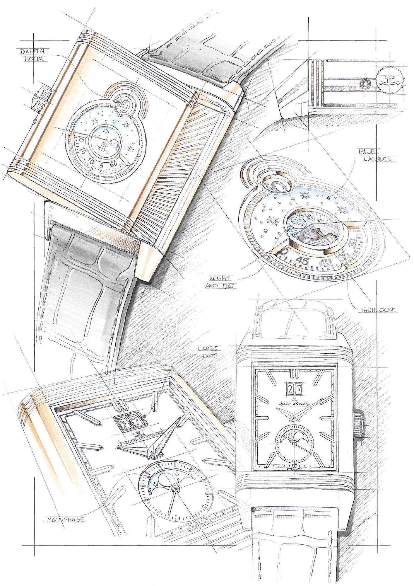 Jaeger-LeCoultre Reverso Tribute Nonantieme Q711252J Sketch
