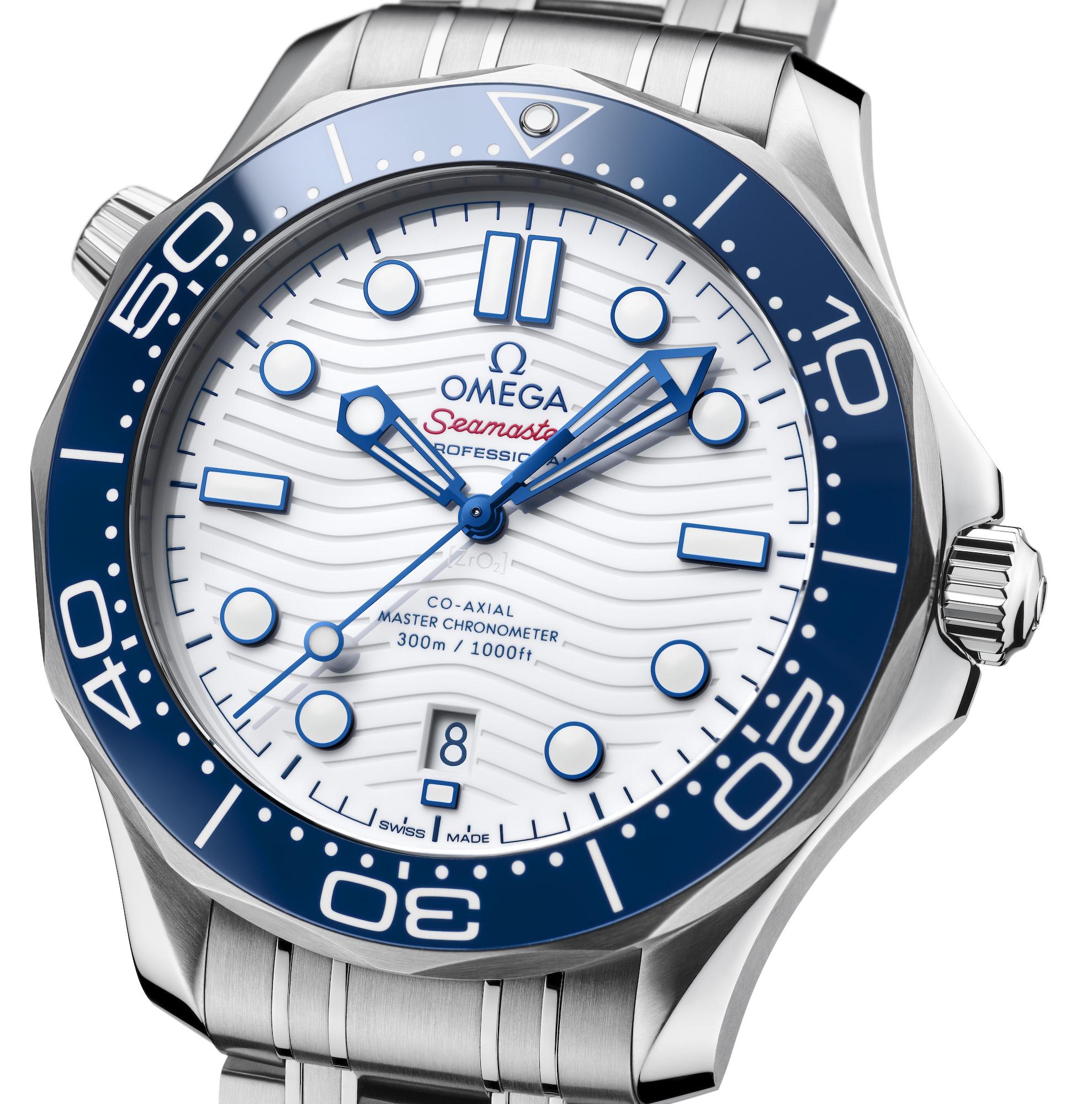 Omega Seamaster Diver 300M Tokyo 2020 522.30.42.20.04.001 Detalle esfera