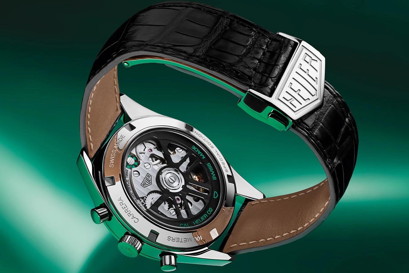TAG Heuer Carrera Green Special Edition CBK221F.FC6479 Detalle trasera y cierre