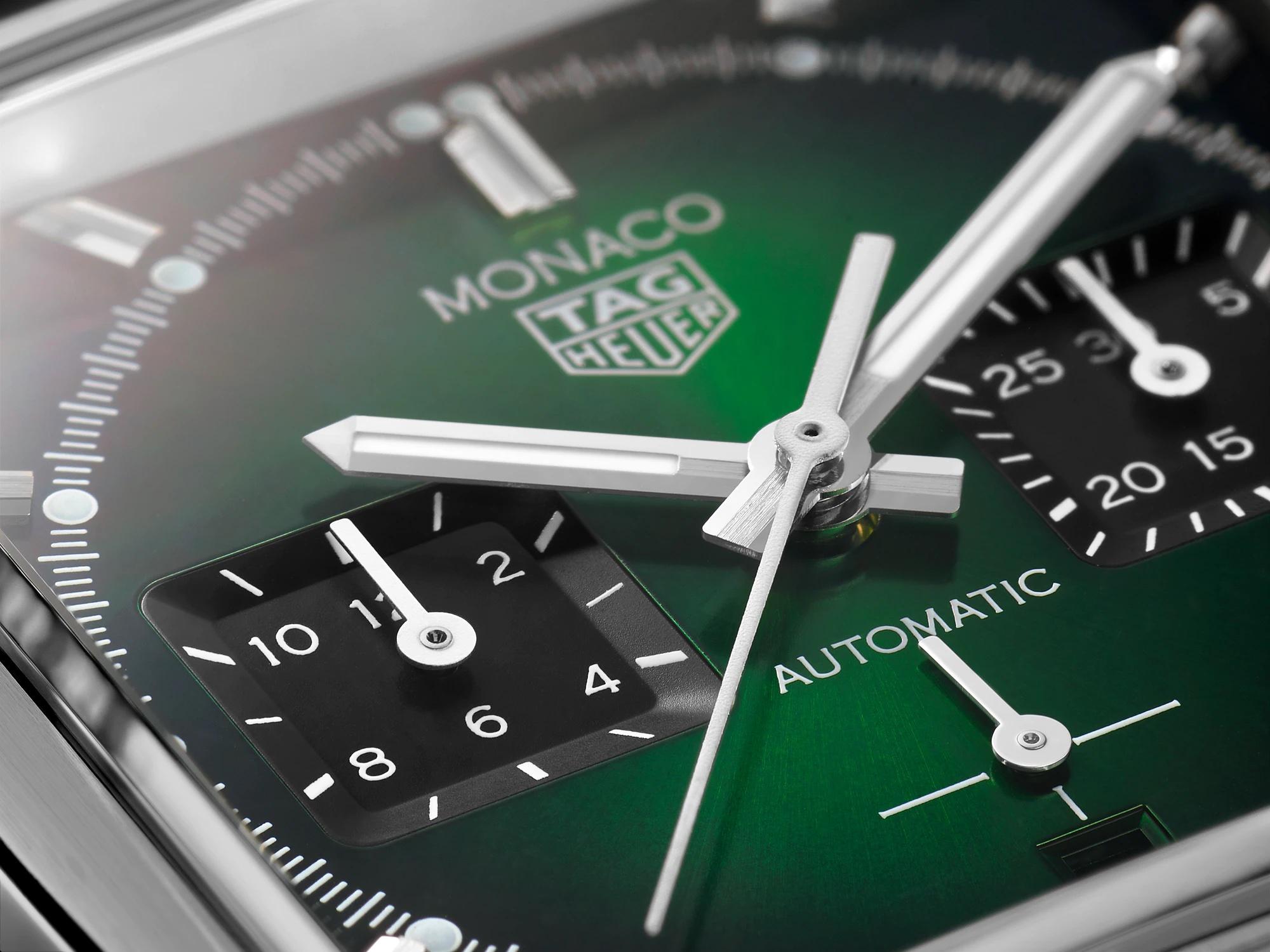 TAG Heuer Monaco Green Dial CBL2116.FC6497 Detalle esfera