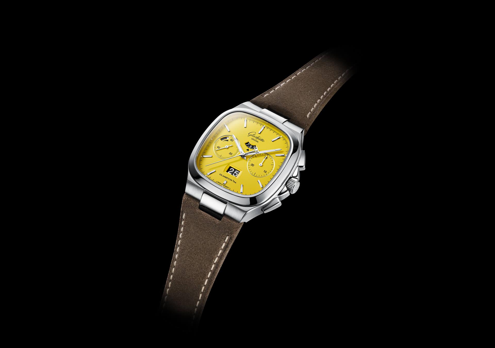 Glashütte Original Seventies Chronograph Panorama Date amarillo 1-37-02-07-02-35 Esfera