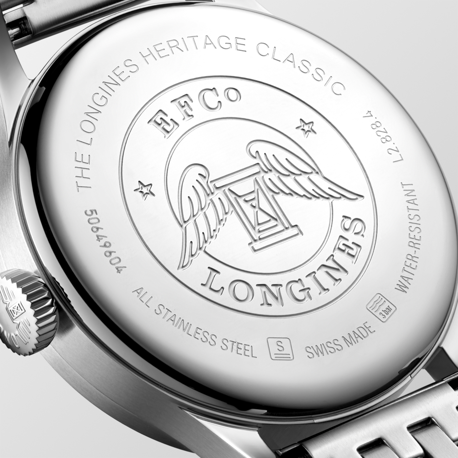 The Longines Heritage Classic L2.828.4.53.6 Detalle trasera