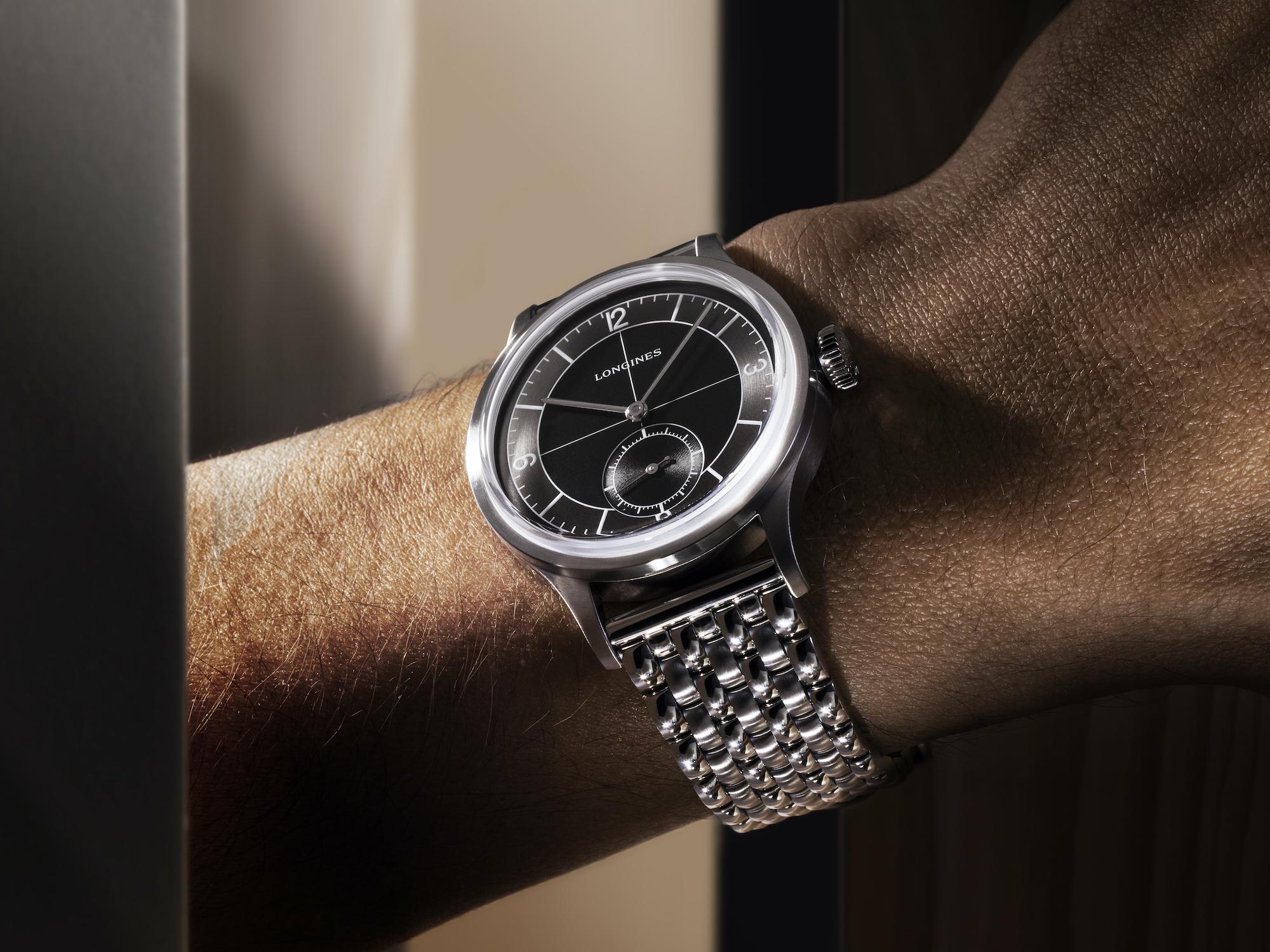 The Longines Heritage Classic L2.828.4.53.6 Lifestyle wristshot