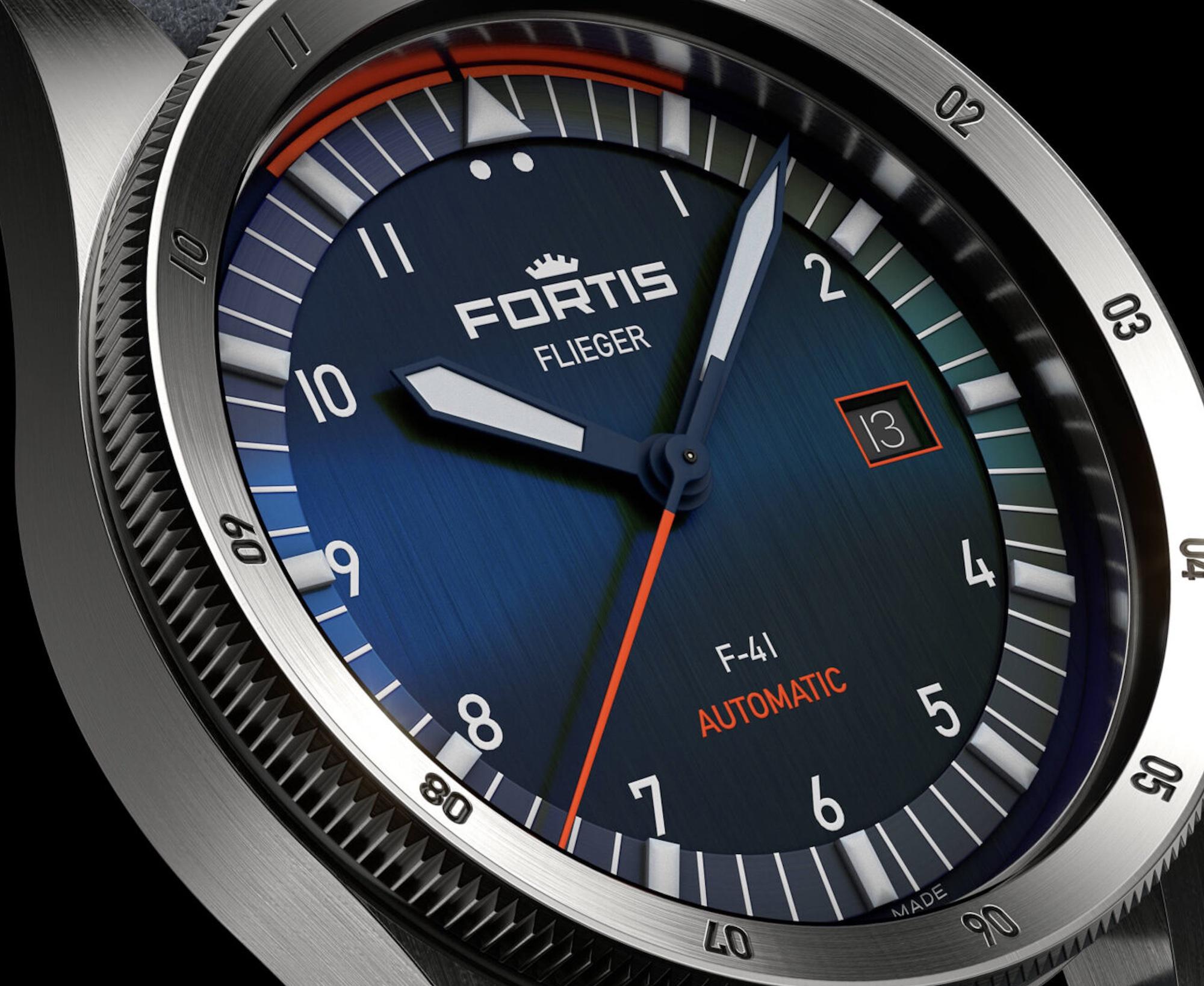 Fortis Flieger F-41 Midnight Blue F4220013 Detalle esfera