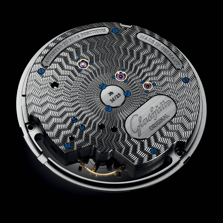 Glashütte Original PanoInverse Limited Edition Platinum 1-66-09-01-03-30 Detalle calibre trasera
