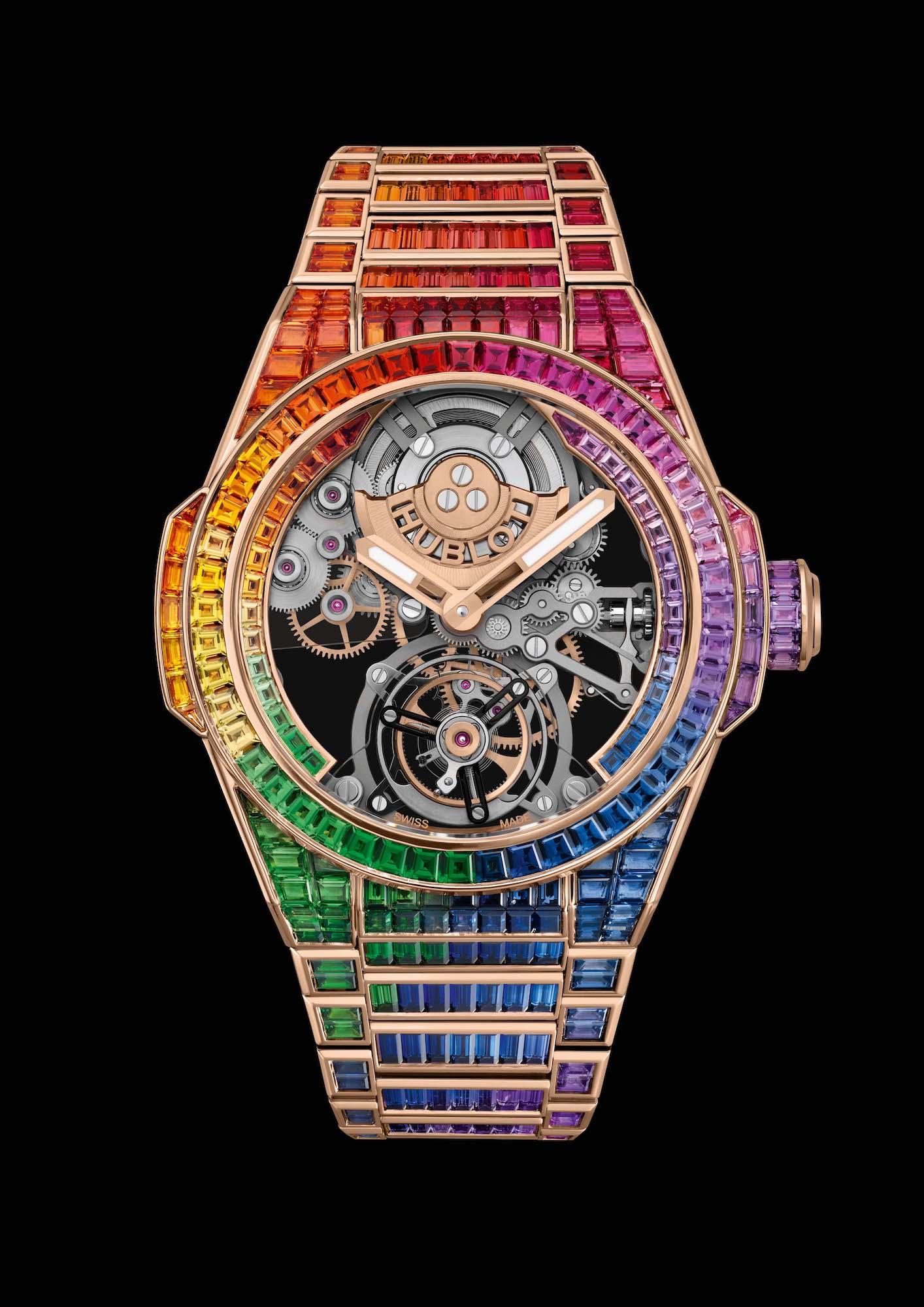 Hublot Big Bang Integral Tourbillon Rainbow 455.OX.9900.OX.9999 Frontal fondo negro