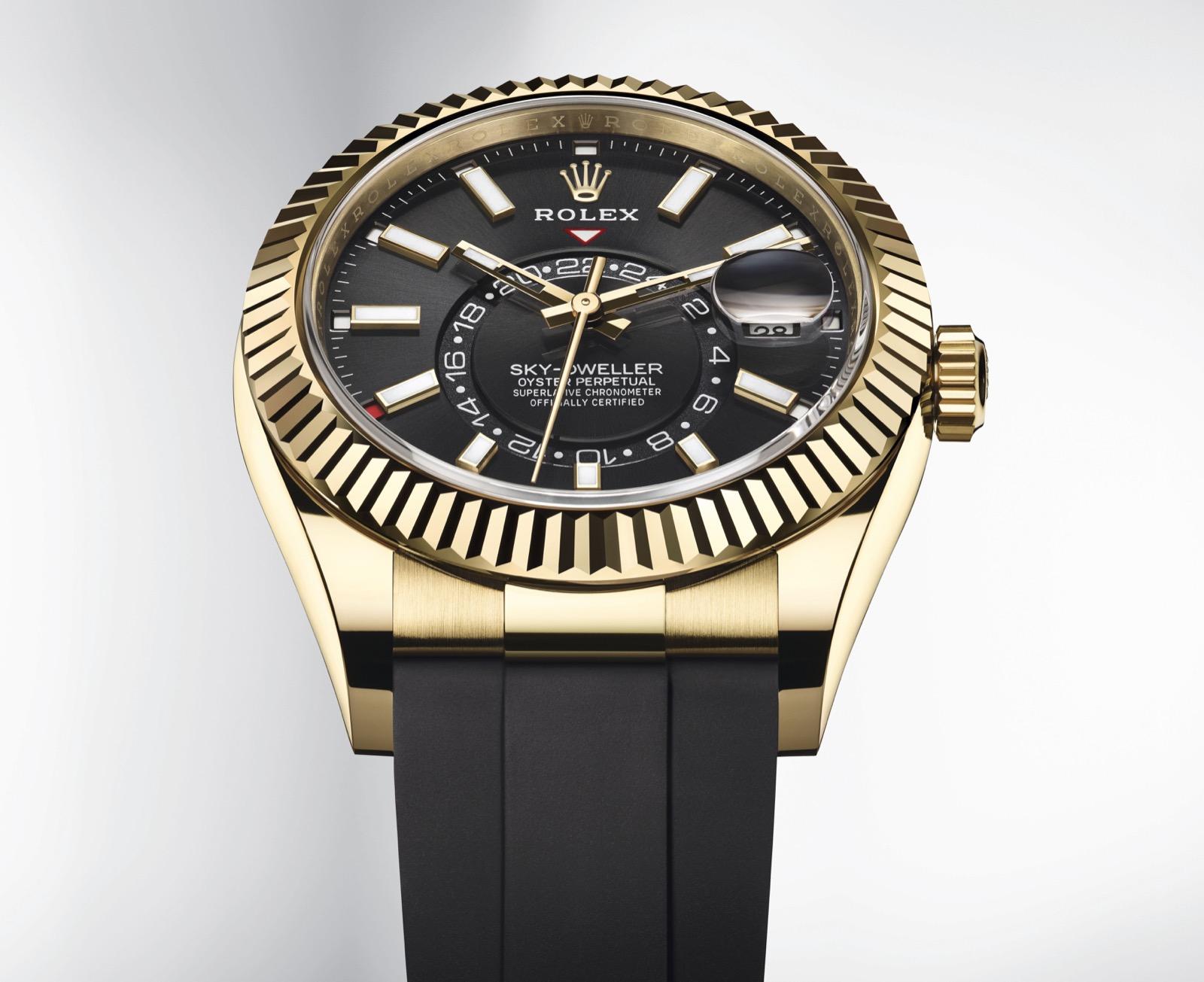 Rolex Sky Dweller negro oro amarillo oysterflex ref. 326238 Detalle