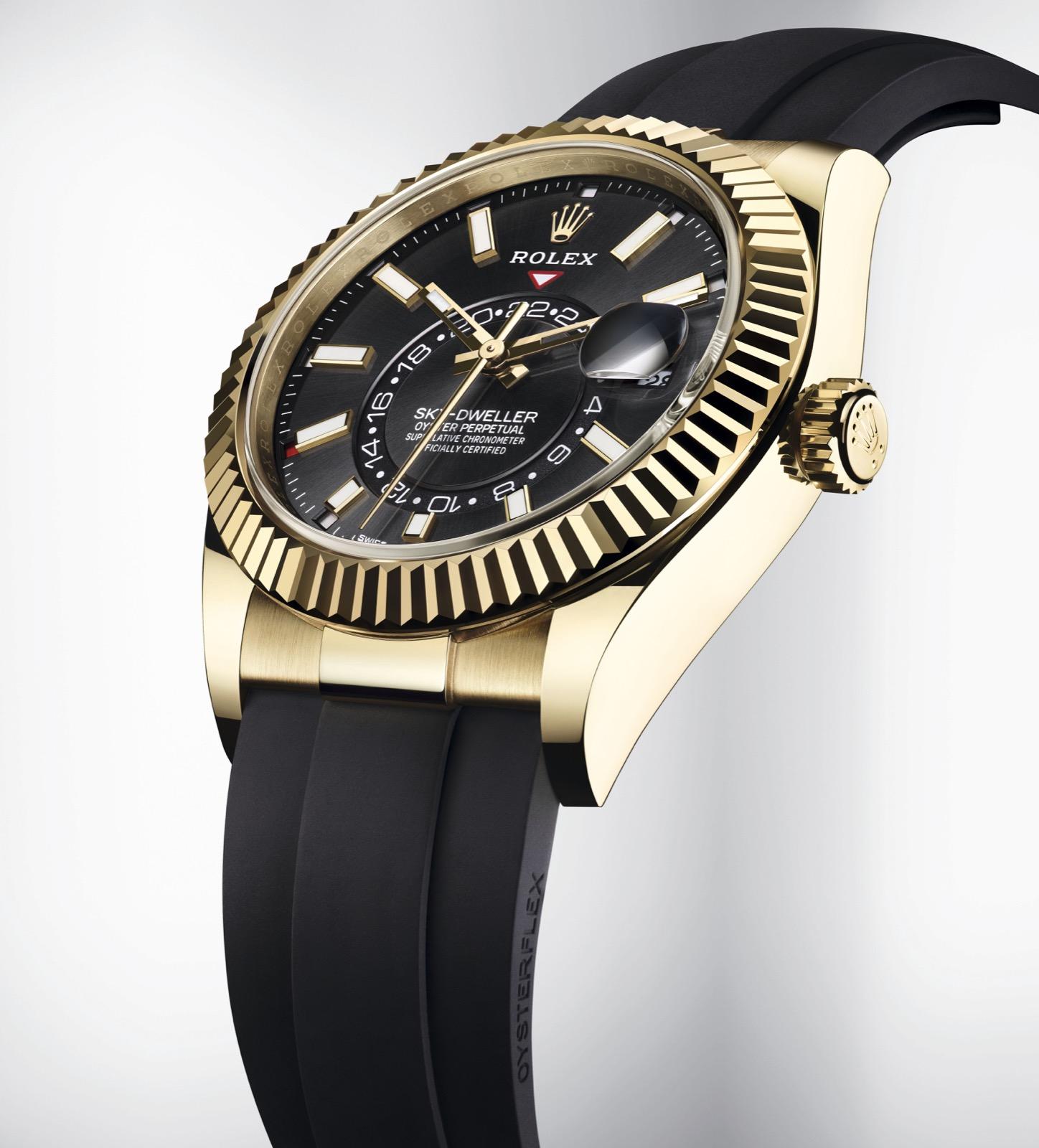 Rolex Sky Dweller negro oro amarillo oysterflex ref. 326238 Esfera