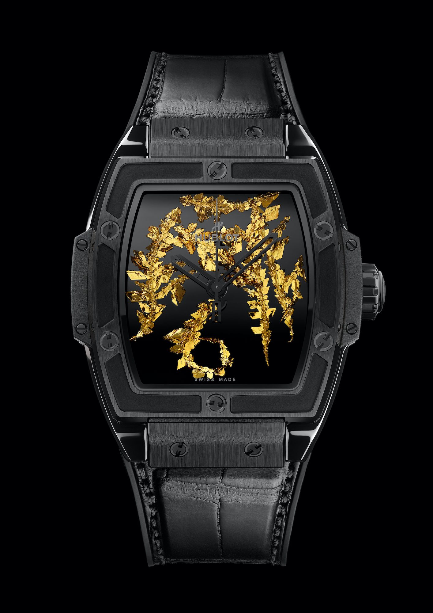 Hublot Spirit of Big Bang Gold Crystal Frontal negro