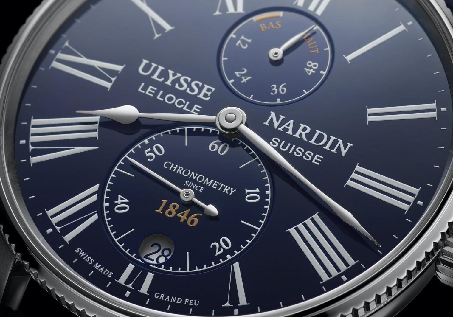 Ulysse Nardin Marine Torpilleur Blue Enamel 1183-310LE-3AE-175:1A Detalle esfera