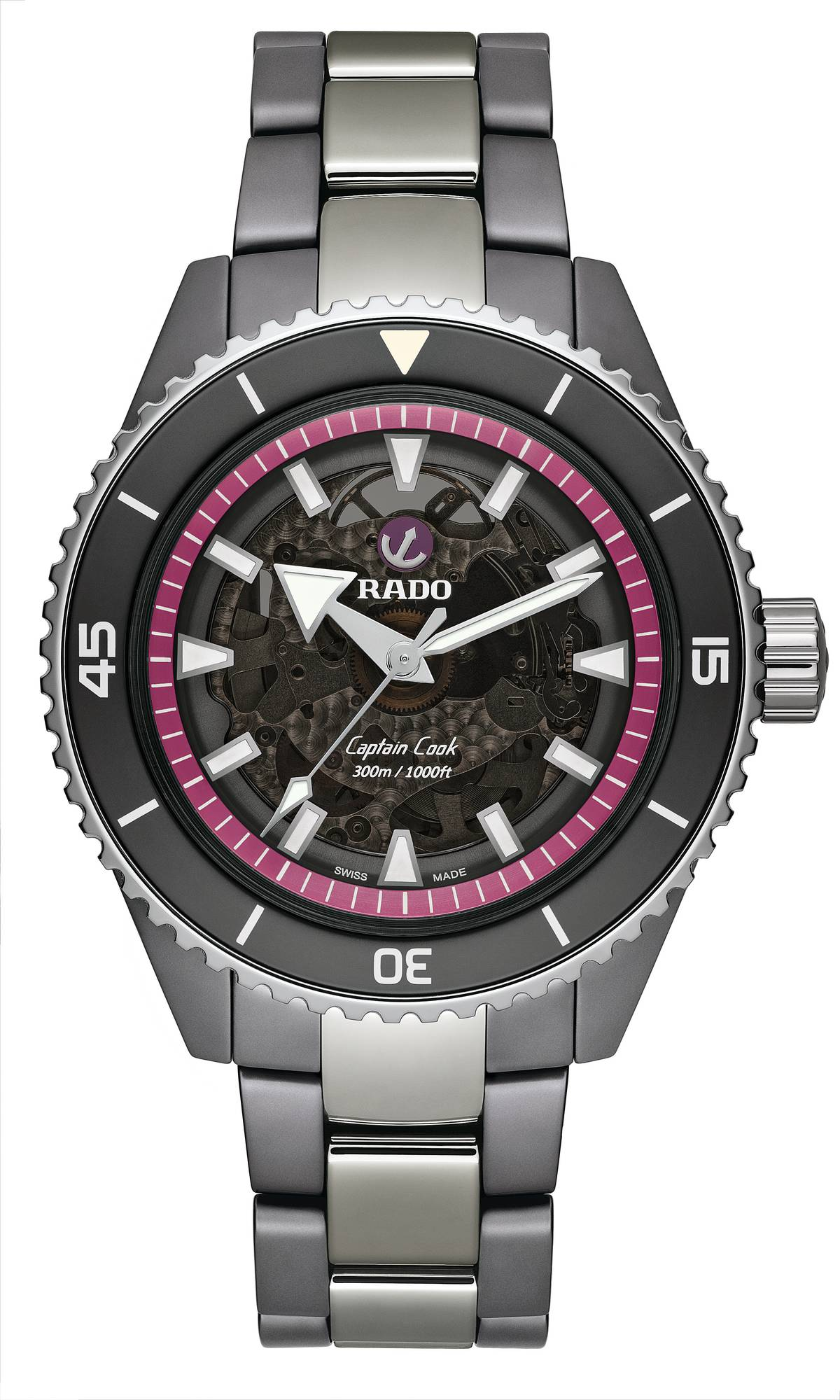 Rado Captain Cook High-Tech Ceramic Pink Dial Project R32128102 Frontal